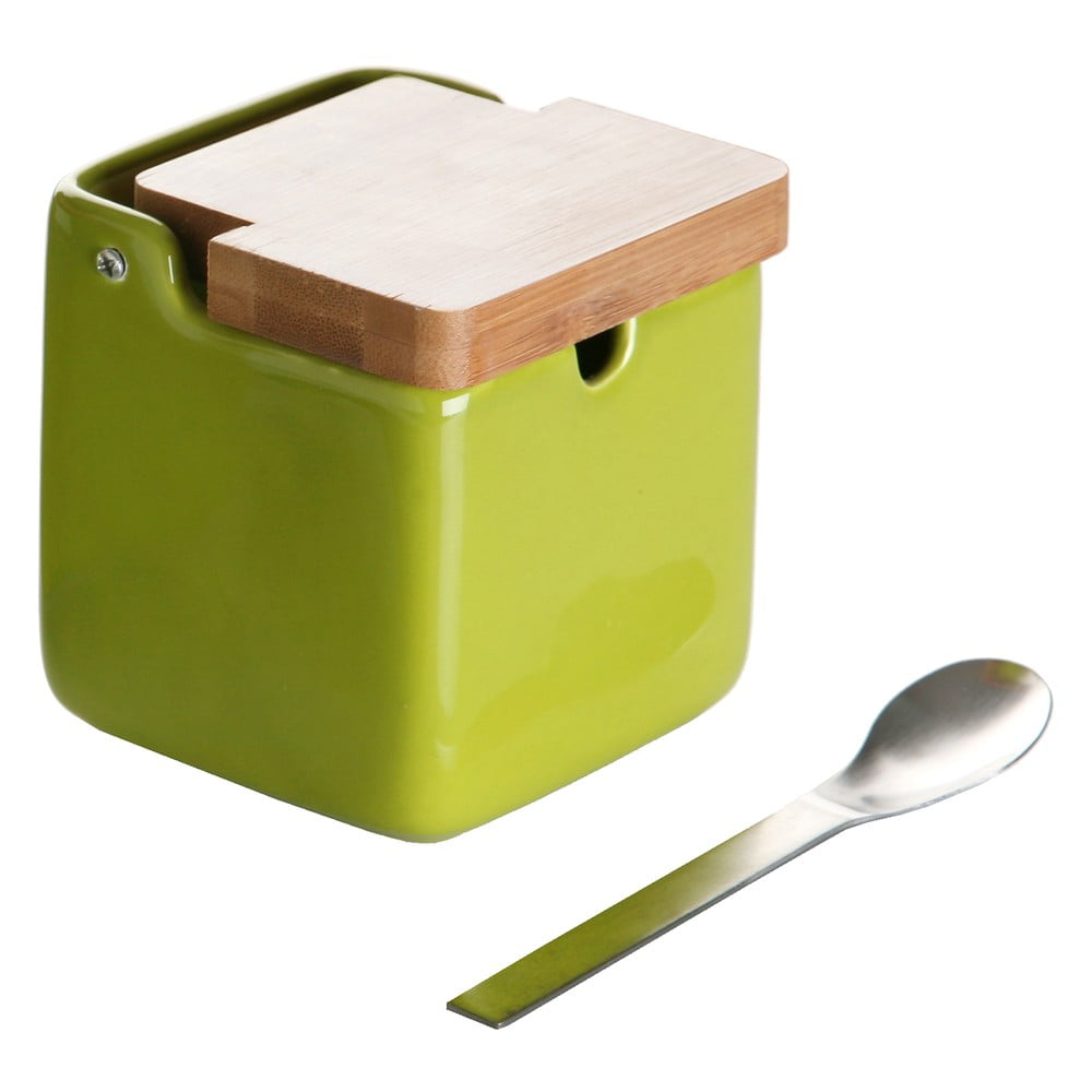 Set zelenej dózy na cukor s lyžičkou Versa Spoon Wood