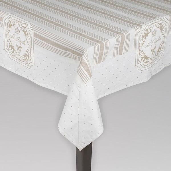 Bavlnený obrus Beige Stripes, 120x120 cm