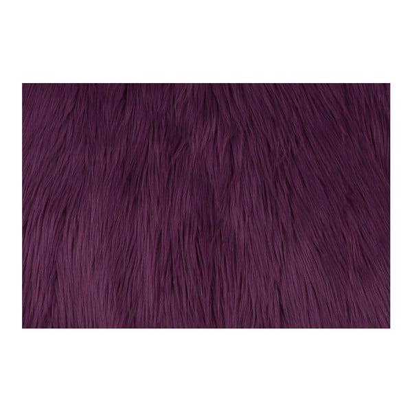 Tmavofialový koberec z umelej kožušiny Dione, 100 x 75 cm
