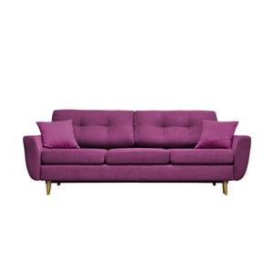 Fialová rozkladacia pohovka Mazzini Sofas Rose, svetlé nohy