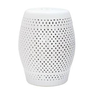 Biely keramický stolík vhodný do exteriéru Safavieh Diamond