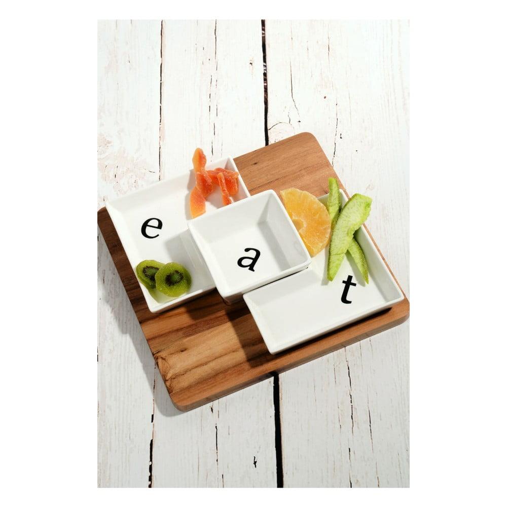 Bambusový podnos s 3 porcelánovými miskami Eat, 26 × 26 cm