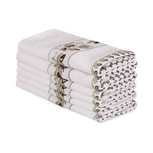 Sada 6 béžových bavlnených uterákov Beyaz Lento, 30×50 cm