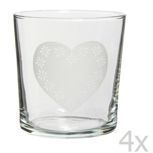Sada 4 sklenic Heart, 370 ml