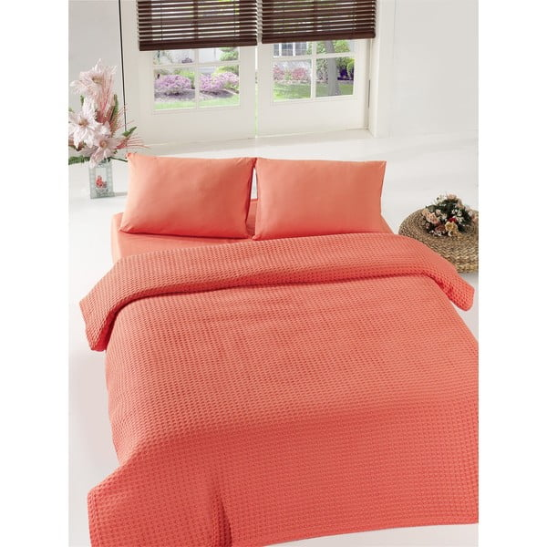 Koralovočervený pléd cez posteľ Coral Pique, 200x240cm