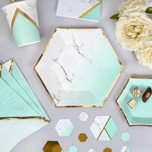 Sada 8 papierových tanierov Neviti Mint Colour Block Marble, 20 cm