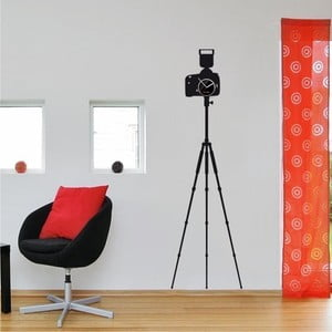 Hodiny so samolepkou Camera with Tripod