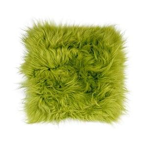 Zelený kožušinový podsedák s dlhým vlasom Apple Green, 37 x 37 cm