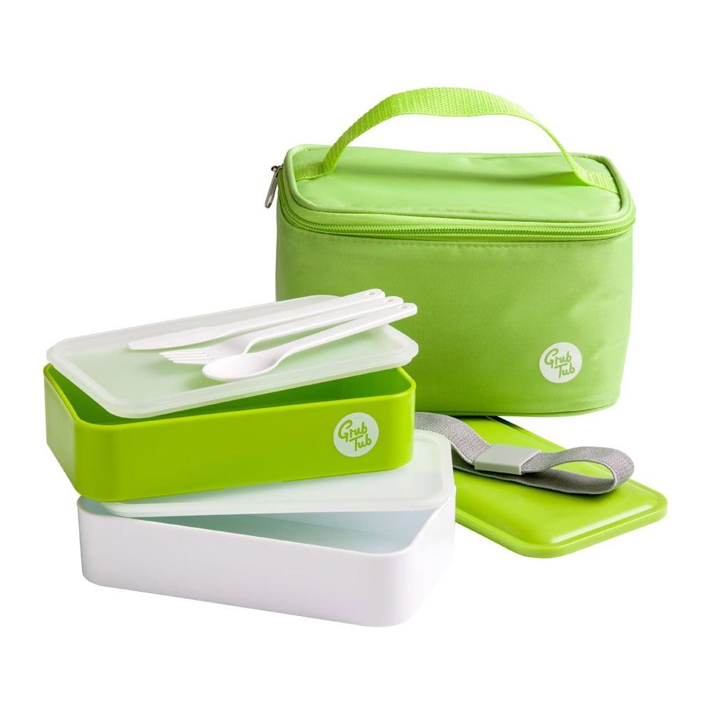 Set zeleného desiatového boxu a tašky Premier Housewares Grub Tub, 21 × 13 cm