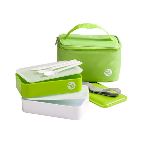Set zeleného desiatového boxu a tašky Premier Housewares, 21 x 13 cm