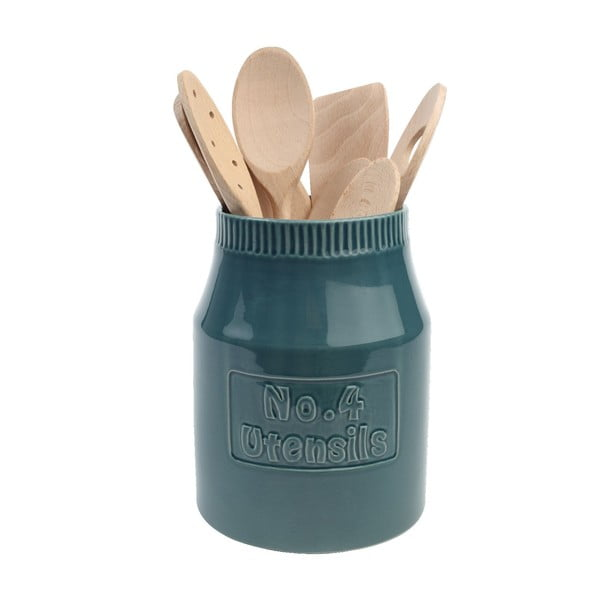Modrozelený keramický stojan na kuchynské potreby T & G Woodware Colour by Numbers