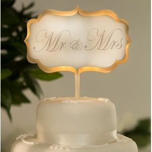 Svadobná dekorácia na tortu s LED svetielkami Cake White
