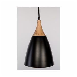 Čierne závesné svietidlo z dubového dreva a ocele Nørdifra Beta, ⌀ 19 cm