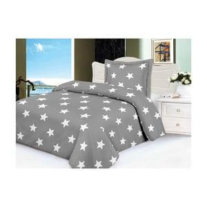 Sivé mikroplyšové obliečky na jednolôžko My House Stars, 140×200 cm