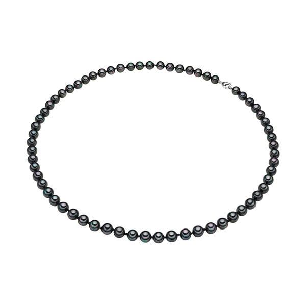 Perlový náhrdelník Muschel, antracitové perly 8 mm, dĺžka 60 cm
