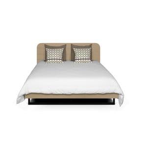 Svetlohnedá posteľ s čiernymi nohami TemaHome Mara, 180 × 200 cm