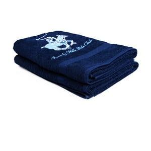Sada 2 tmavomodrých uterákov Beverly Hills Polo Club Brilliant, 60×110cm