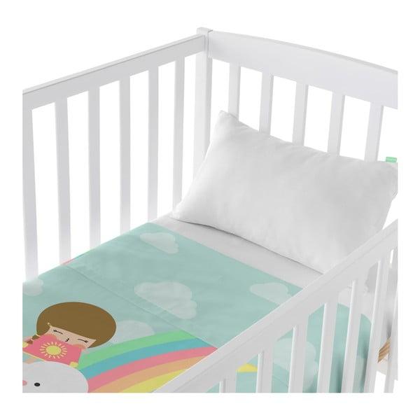 Set plachty a obliečky na vankúš z čistej bavlny Happynois Rainbow, 100×130 cm