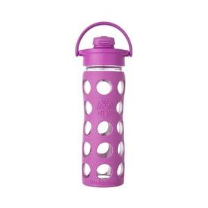 Sklenená fľaša na vodu so silikónovým chráničom Lifefactory Flip Hucklebberry, 475 ml