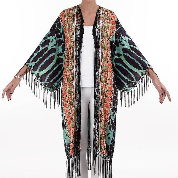 Dlhé plážové kimono BLE Inart Leopard, veľ. M