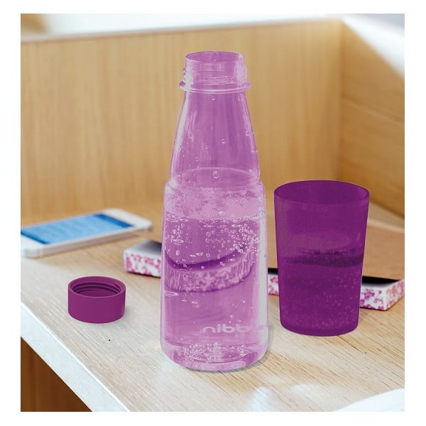 Fľaša na vodu s kalíškom Crave, fialová