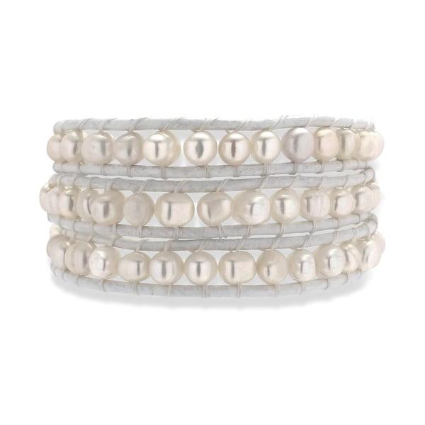 Biely kožený náramok s perlami Nova Pearls Copenhagen Néreus
