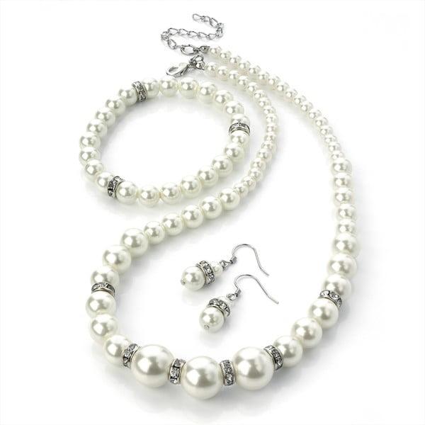 Sada náhrdelníkov, náramkov a náušníc Pearl Silver