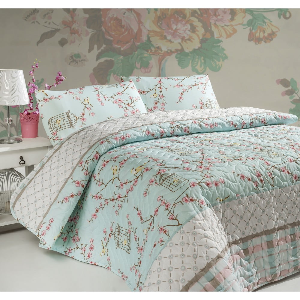 Pléd cez posteľ na dvojlôžko s obliečkami na vankúše Birdcage, 200 × 220 cm