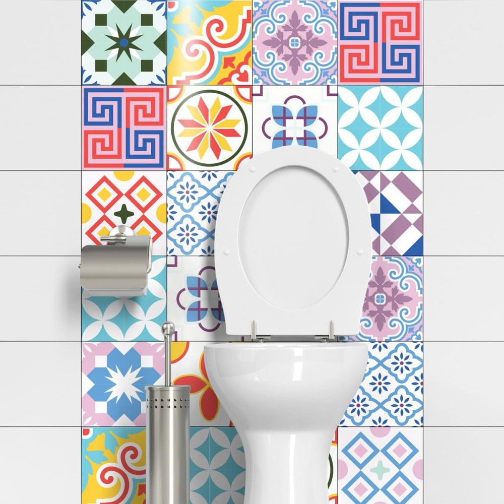 Sada 24 dekoratívnych samolepiek na stenu Ambiance Cheerful, 15 × 15 cm