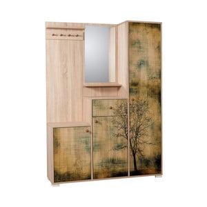Hnedá predsieňová stena so zrkadlom Kardelen Tree, výška 188 cm
