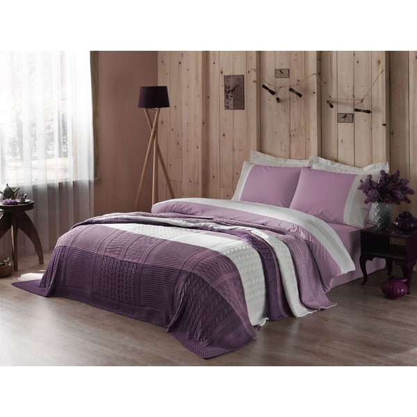 Obliečky s plachtou a posteľnou prikrývkou Purple and White, 160x220 cm