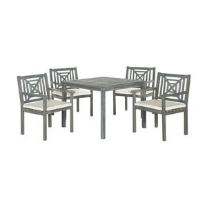 Sivý set záhradného stolíka a stoličiek z agátového dreva Safavieh Riva