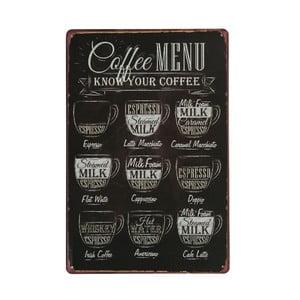Ceduľa Coffee Menu, 20x30 cm