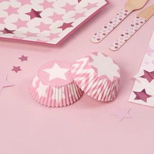 Sada 100 papierových košíkov na muffiny Neviti Little Star Pink