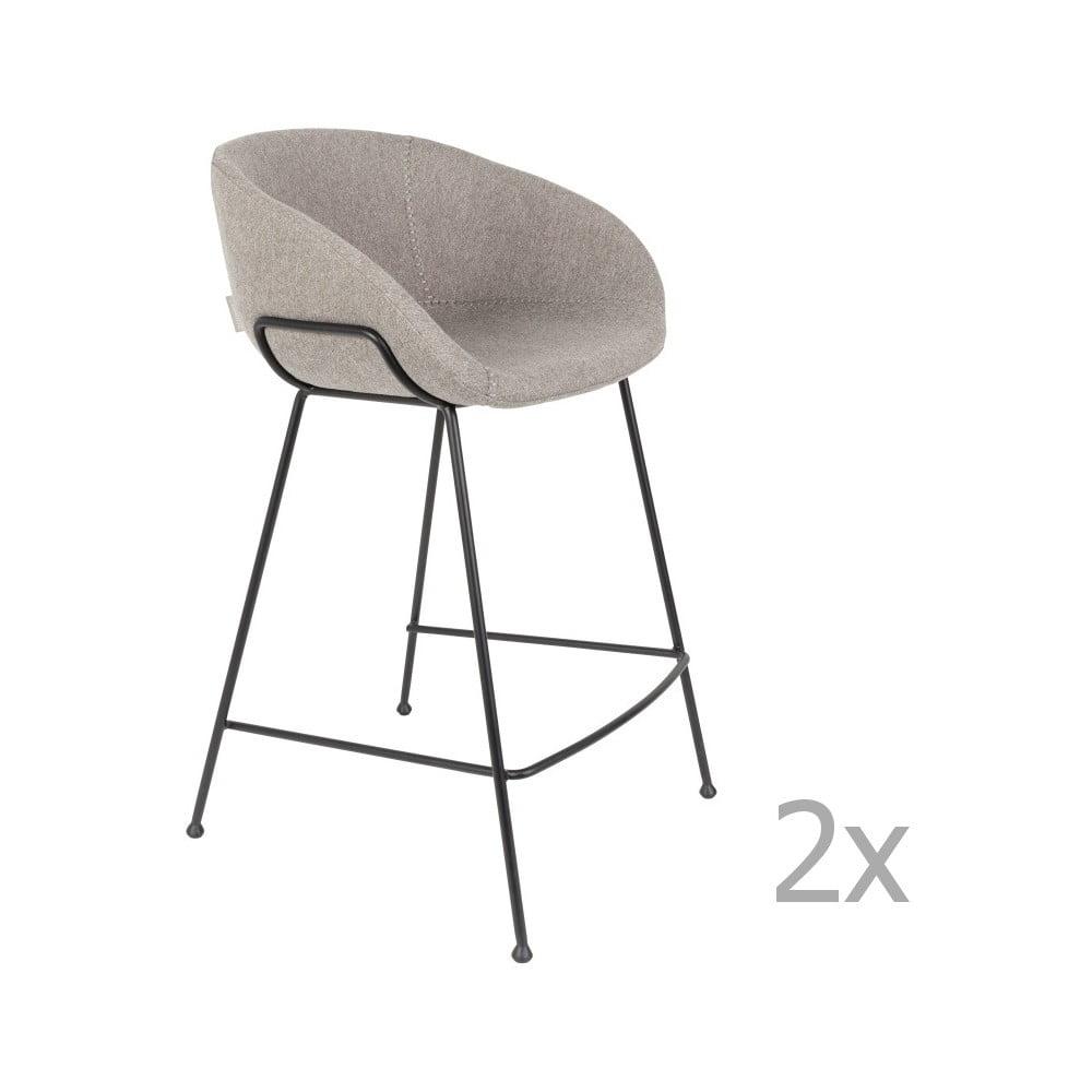 Sada 2 sivých barových stoličiek Zuiver Feston, výška sedu 65 cm