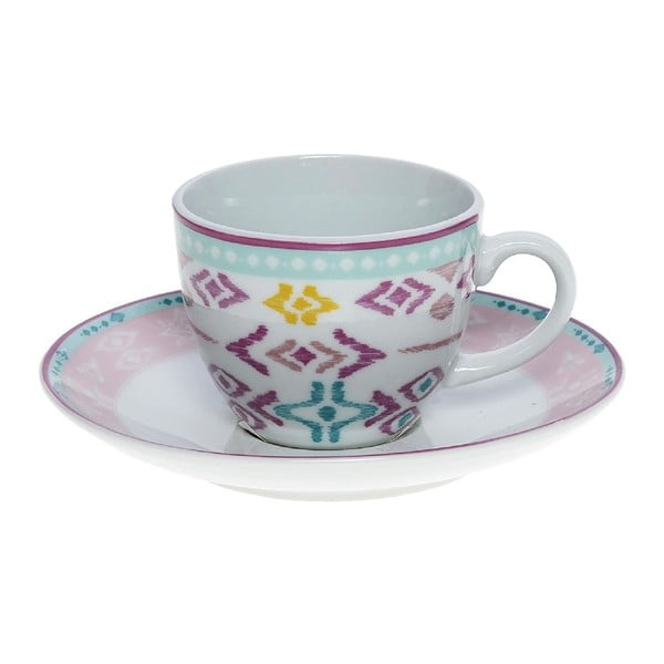 Set porcelánových hrnčekov a tanierikov Romantic, 6 ks (100 ml)