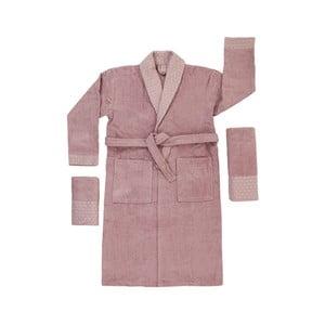 Set 2 fialových uterákov a župana z čistej bavlny King, veľ. M/L