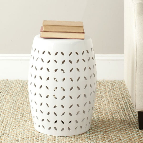 Biely keramický stolík Safavieh Lattice Petal