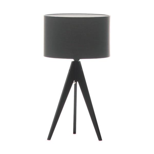 Tmavosivá stolová lampa Artist, čierna lakovaná breza, Ø 33 cm