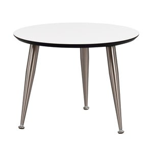 Biely konferenčný stolík s nohami v striebornej farbe Folke Strike, výška 47 cm × ∅ 56 cm