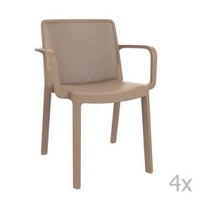 Sada 4 béžových záhradných stoličiek sopierkami Resol Fresh