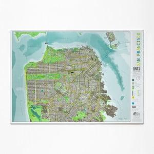 Zelená mapa San Francisca The Future Mapping Company Street Map,100×70cm