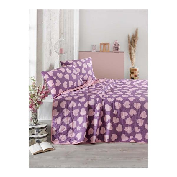 Fialovo-ružová prikrývka cez posteľ na dvojlôžko s obliečky na vankúše Pari, 200×220 cm