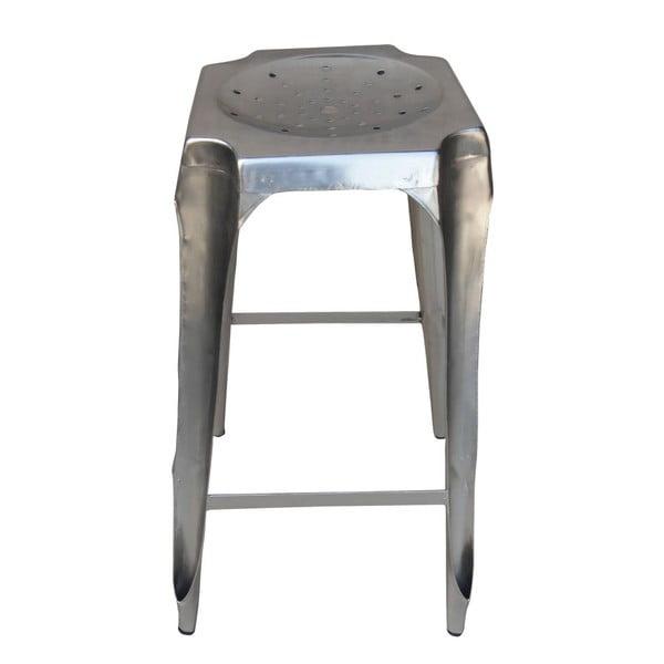 Barová kovová stolička Tabouret, strieborná