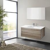 Kúpeľňová skrinka s umývadlom a zrkadlom Flopy, dekor dubu, 100 cm