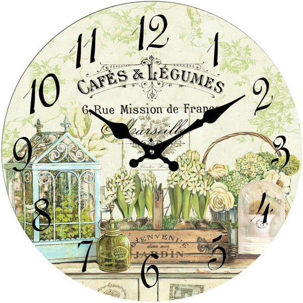 Sklenené hodiny Cafés & Legumes, 30 cm