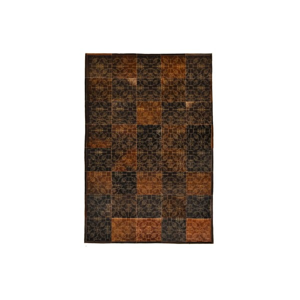 Koberec z pravej kože Dubai Brown and Gold, 170x240 cm