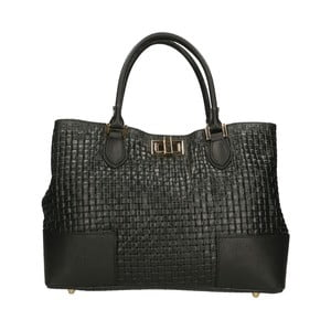 Čierna kožená kabelka Chicca Borse Pullioto