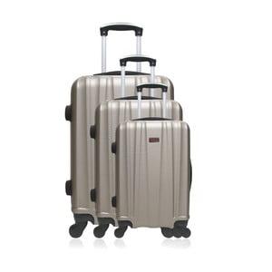 Sada 3 cestovných kufrov bronzovej farby na kolieskach Hero Poppy