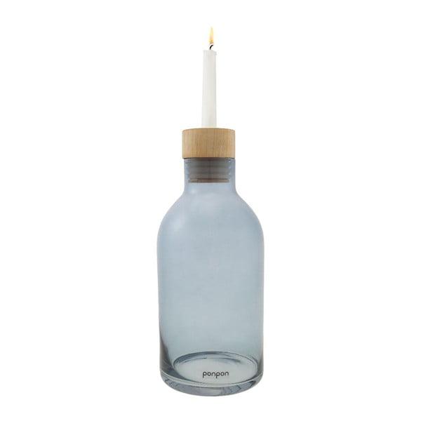 Váza/svietnik Bottle 25,5 cm, modrá